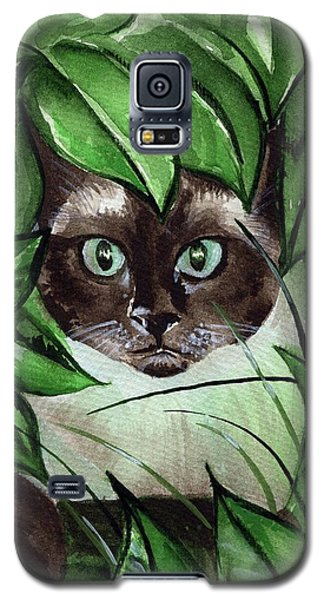 Galaxy S5 Case featuring the painting Peek A Boo Siamese Cat by Dora Hathazi Mendes