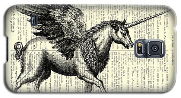 White Horse Galaxy S5 Case - Pegasus Black And White by Madame Memento