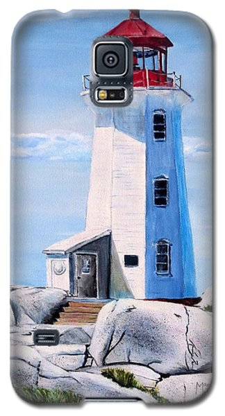 Galaxy S5 Case featuring the painting Peggy's Cove Lighthouse by Marilyn  McNish