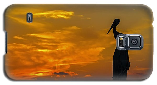 Pelican At Silver Lake Sunset Ocracoke Island Galaxy S5 Case by Greg Reed