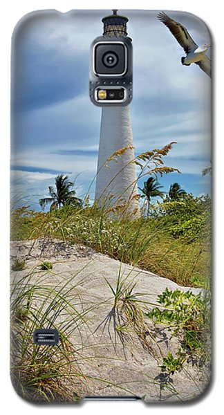 Pelican Flying Over Cape Florida Lighthouse Galaxy S5 Case by Justin Kelefas