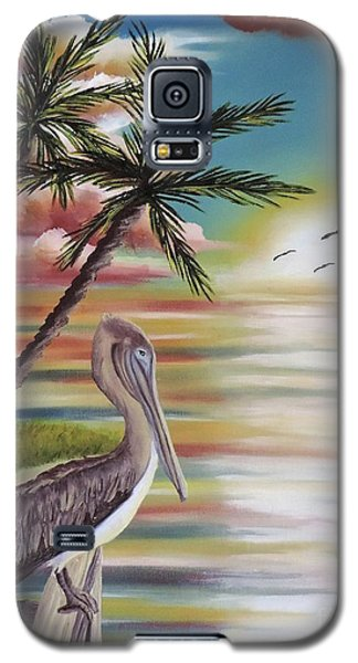 Galaxy S5 Case featuring the painting Pelican Sunset by Dianna Lewis