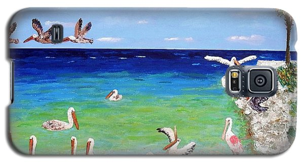 Galaxy S5 Case featuring the painting Pelicans by Vicky Tarcau