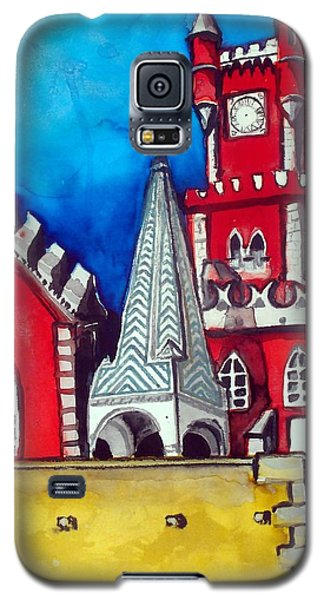 Galaxy S5 Case featuring the painting Pena Palace In Portugal by Dora Hathazi Mendes