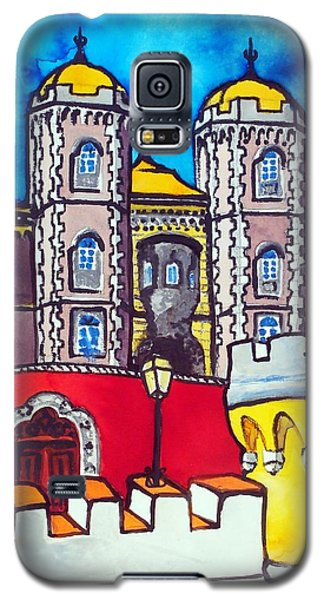 Galaxy S5 Case featuring the painting Pena Palace In Sintra Portugal  by Dora Hathazi Mendes