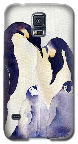 Galaxy S5 Case featuring the painting Penguin Family by Laurel Best