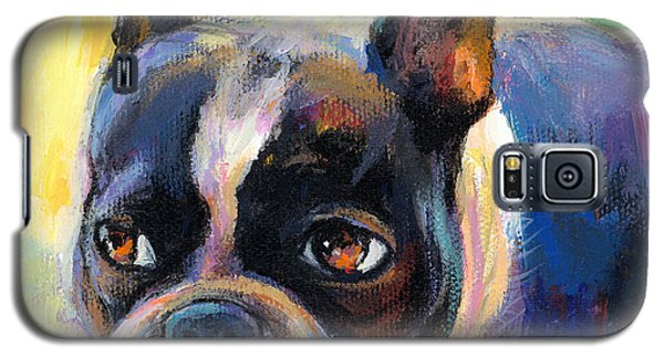 Pensive Boston Terrier Dog Painting Galaxy S5 Case