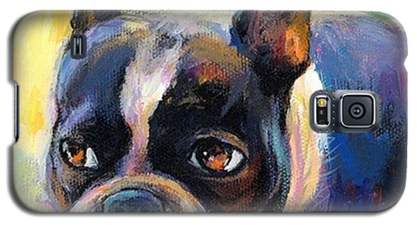 Pensive Boston Terrier Painting By Galaxy S5 Case