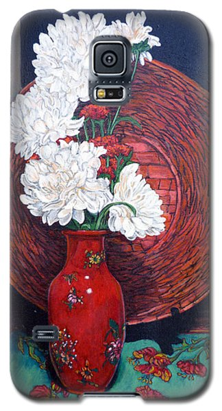 Galaxy S5 Case featuring the painting Peonies For Nana by Tom Roderick