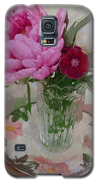 Galaxy S5 Case featuring the digital art Peonies With Sweet Williams by Alexis Rotella
