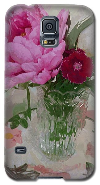 Peonies With Sweet Williams Galaxy S5 Case by Alexis Rotella