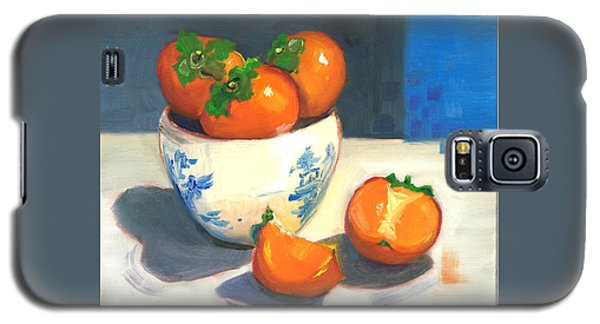 Galaxy S5 Case featuring the painting Persimmons by Susan Thomas