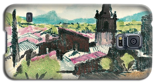 Galaxy S5 Case featuring the painting Peyruis Village In Provence by Martin Stankewitz