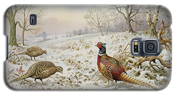 Pheasant And Partridges In A Snowy Landscape Galaxy S5 Case by Carl Donner