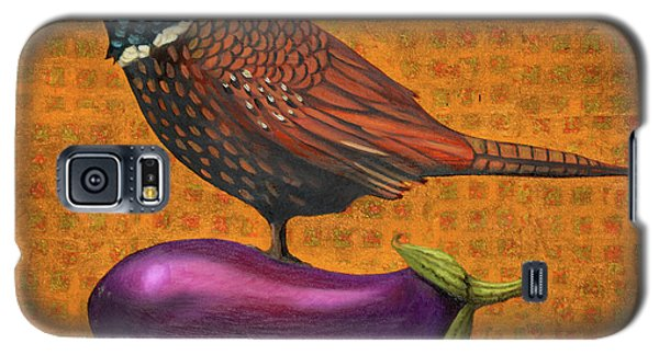 Galaxy S5 Case featuring the painting Pheasant On An Eggplant by Leah Saulnier The Painting Maniac