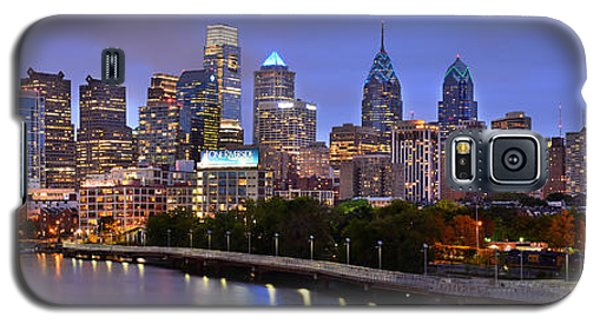 Galaxy S5 Case featuring the photograph Philadelphia Philly Skyline At Dusk From Near South Color Panorama by Jon Holiday