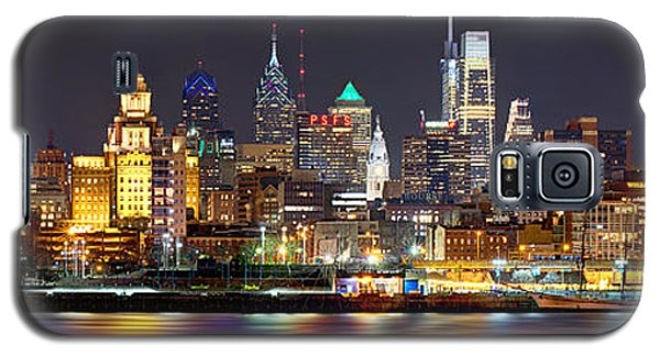 City Scenes Galaxy S5 Case - Philadelphia Philly Skyline At Night From East Color by Jon Holiday