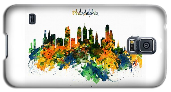 Philadelphia Watercolor Skyline Galaxy S5 Case by Marian Voicu