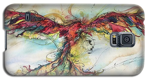 Galaxy S5 Case featuring the painting Phoenix Rainbow by Christy Freeman