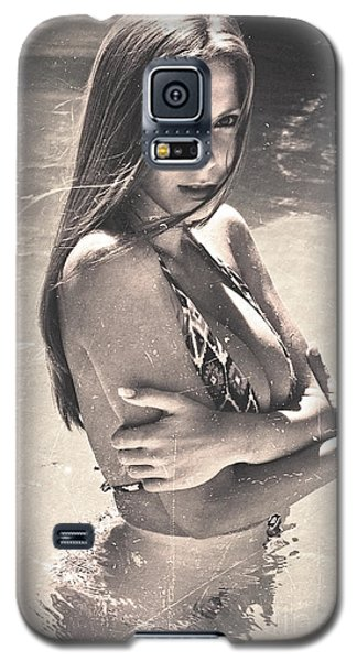 Photograph Vintage Summer Look With Woman In Bikini #8624m Galaxy S5 Case