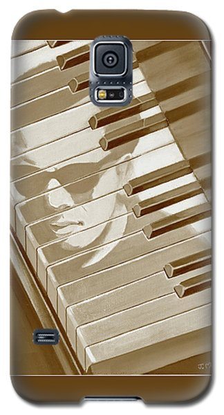 Galaxy S5 Case featuring the painting Piano Man In Sepia by J L Meadows