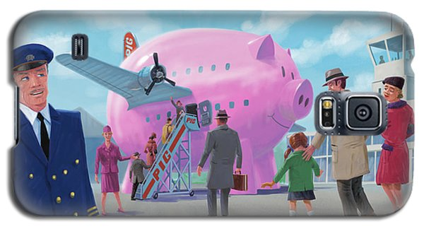 Galaxy S5 Case featuring the digital art Pig Airline Airport by Martin Davey