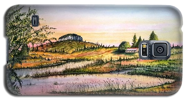 Galaxy S5 Case featuring the painting Pilot Mountain And Farm Ponds by Richard Benson