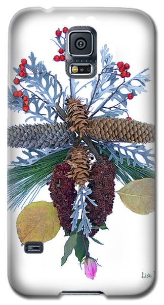 Galaxy S5 Case featuring the digital art Pine Cone Bouquet by Lise Winne