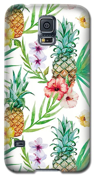 Pineapple And Tropical Flowers Galaxy S5 Case