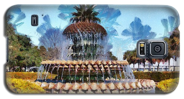 Galaxy S5 Case featuring the painting Pineapple Fountain by Lynne Jenkins