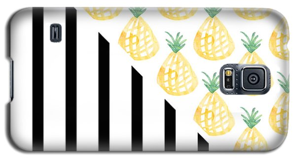 Fruits Galaxy S5 Case - Pineapples And Stripes by Linda Woods