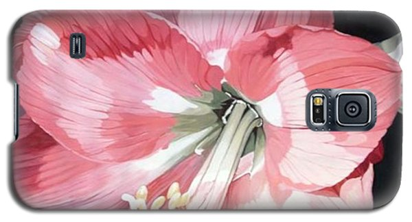 Galaxy S5 Case featuring the painting Pink Amaryllis by Laurie Rohner