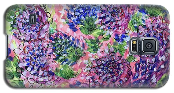 Pink And Blue Flower Flurry Galaxy S5 Case