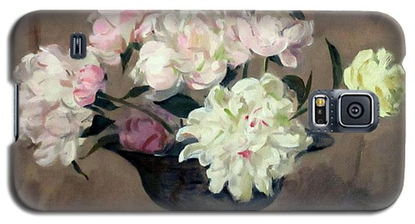 Pink And White Peonies In Footed Silver Bowl Galaxy S5 Case