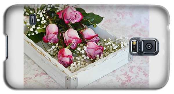 Pink And White Roses In White Box Galaxy S5 Case by Diane Alexander
