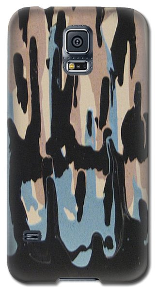 Galaxy S5 Case featuring the painting Pink Blue And Brown Drips by Barbara Yearty