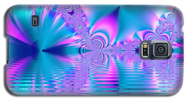 Pink, Blue And Turquoise Fractal Lake Galaxy S5 Case
