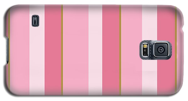 Galaxy S5 Case featuring the mixed media Pink Blush Stripe Pattern by Christina Rollo