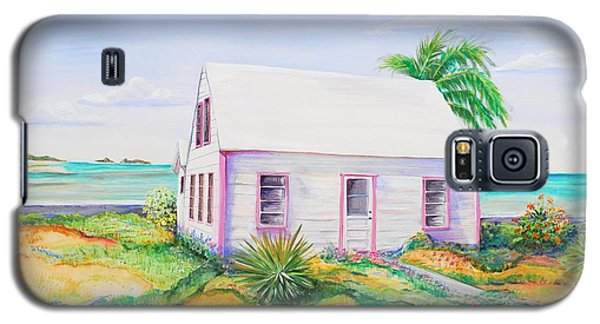 Galaxy S5 Case featuring the painting Pink Cottage by Patricia Piffath