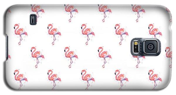 Flamingo Galaxy S5 Case - Pink Flamingo Watercolor Pattern by Olga Shvartsur