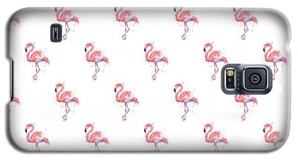 Watercolor Galaxy S5 Case - Pink Flamingo Watercolor Pattern by Olga Shvartsur