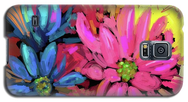 Galaxy S5 Case featuring the painting Pink Flower by DC Langer