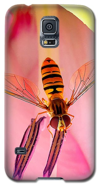 Pink Flower Fly Galaxy S5 Case