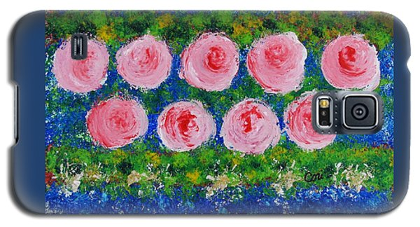 Pink Flowers On Green And Blue Galaxy S5 Case