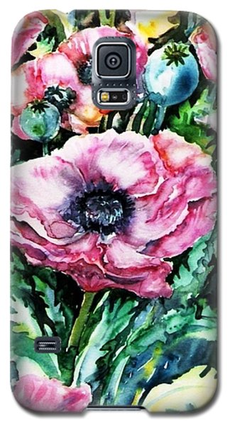 Galaxy S5 Case featuring the painting Pink Garden Poppies  by Trudi Doyle