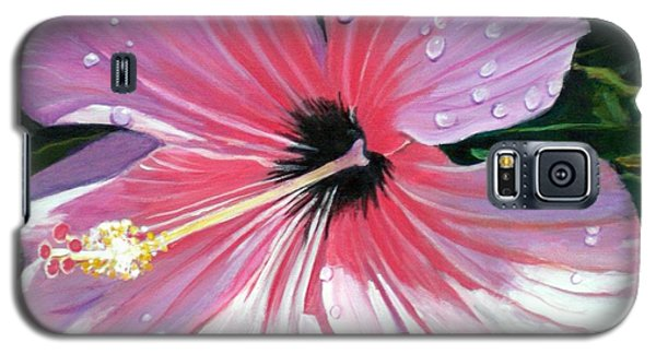Pink Hibiscus With Raindrops Galaxy S5 Case