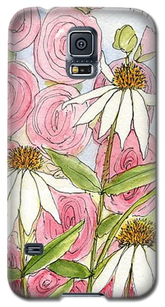 Pink Hollyhock And White Coneflowers Galaxy S5 Case