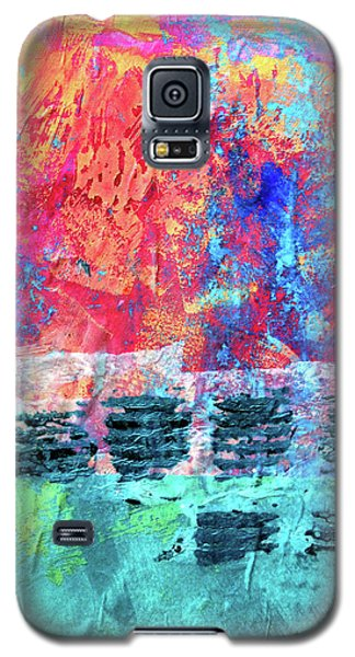 Galaxy S5 Case featuring the painting Pink Horizon by Nancy Merkle