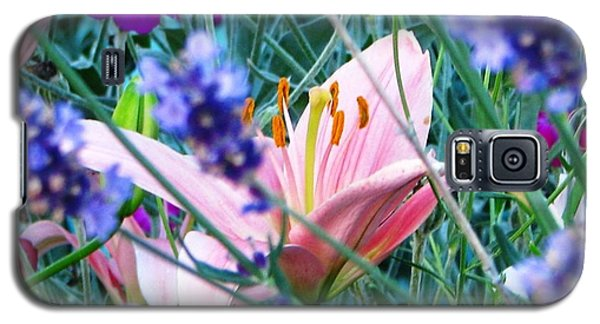 Galaxy S5 Case featuring the photograph Pink Lily In The Lavender by Judyann Matthews