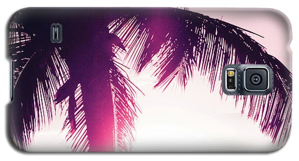 Galaxy S5 Case featuring the photograph Pink Palm Tree Silhouettes Kihei Tropical Nights by Sharon Mau